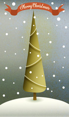Vintage-style greeting card with Christmas tree