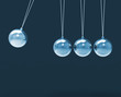 Four Silver Newtons Cradle Shows Blank Spheres Copyspace For 4 L