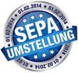 "Button Banner ""SEPA Umstellung"" blau/silber"