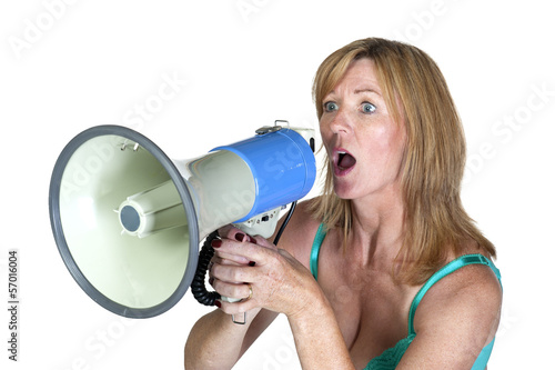 Woman using a Loud hailer