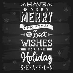 Christmas and Holiday Season Greetings chalkboard