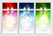 Three multicolor Christmas greeting cards with bow.
