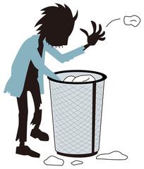 ゴミをあさるホームレス
