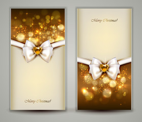 Two elegant Christmas greeting cards with bow and jewelry.
