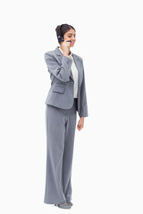 Standing call centre agent with headset