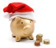 Salvadanaio natalizio con monete