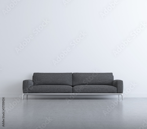 Isolated contemporary elegant living room, grey sofa