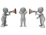 Loud Hailer Characters Show Megaphone Attention Explaining And B