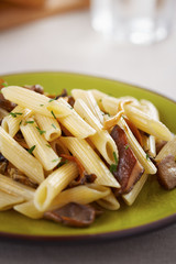 Yellow foot and red pine mushroom pasta