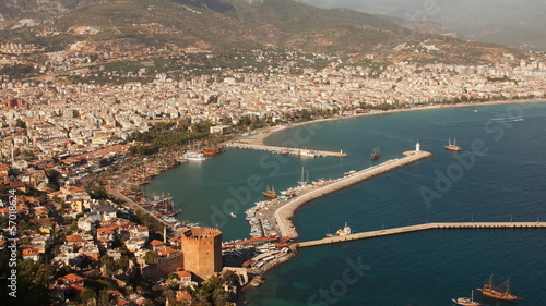 Alanya port and Kizil Kule Tower. Time Lapse. Zoom.