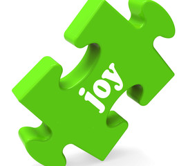 Joy Puzzle Shows Cheerful Joyful Happy And Enjoy