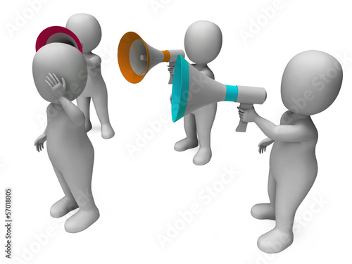 Loud Hailer Character Shows Megaphone Shouting Yelling And Bully