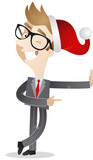 Businessman, santa hat, leaning, wall, pointing