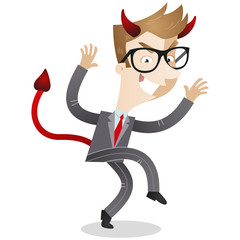 Businessman, evil, devil, horns, sneaking, scary