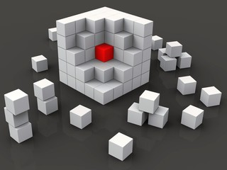 Middle Of Blocks Shows Nucleus