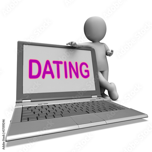 Online Dating Laptop Shows Romance Relationship And Web Love
