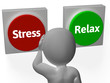 Stress Relax Buttons Show Stressed Or Relaxed
