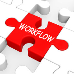 Workflow Puzzle Shows Process Flow Or Procedure
