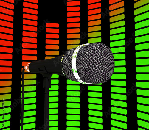 Graphic Equalizer And Microphone Shows Pop Music Soundtrack Or C