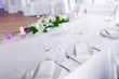 Tables decorated with flowers
