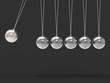 Six Silver Newtons Cradle Shows Blank Spheres Copyspace For 6 Le