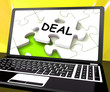 Deal Laptop Shows Trade Deals Contract Or Dealing Online