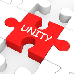 Unity Puzzle Shows Team Teamwork Or Collaboration