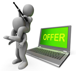 Offer Characters Laptop Shows Discounts Discounting And Reductio