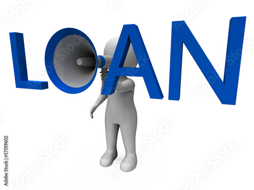 Loan Hailer Shows Bank Loans Credit Or Loaning