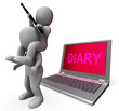 Diary Laptop Characters Show Internet Appointment Or Schedules