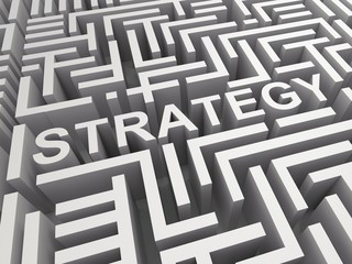 Strategy Word In Maze Shows Game Plan