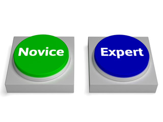 Novice Expert Buttons Shows Beginner And Expertise