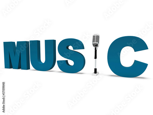 Music Word And Microphone Shows Concert Musical Or Talent
