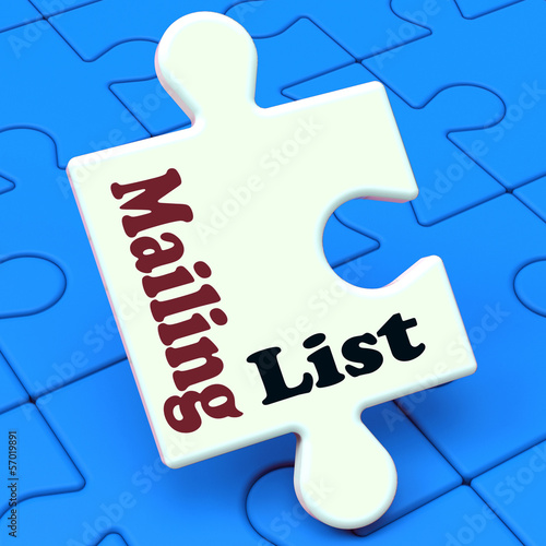 Mailing List Puzzle Shows Email Marketing Lists Online