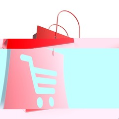 Shopping Cart Bag Shows Basket Checkout