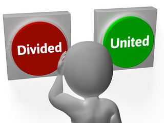 Divided United Buttons Show Disunited Or Togetherness