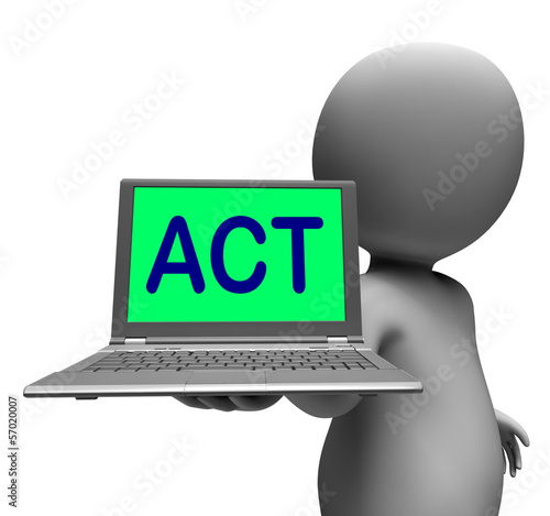 Act Laptop Character Shows Motivation Inspire Or Performing