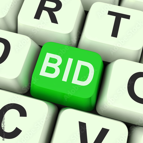 Bid Key Shows Online Auction Or Bidding