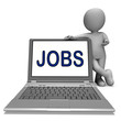 Jobs On Laptop Shows Profession Employment Or Hiring Online