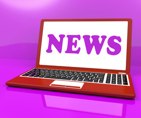 News Laptop Showing Media Newspapers And Headlines Online