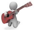 Guitarist Character Shows Acoustic Guitar Music And Performance