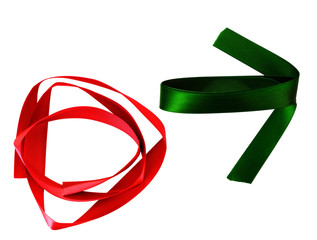 Red and green gift ribbons, isolated over white background