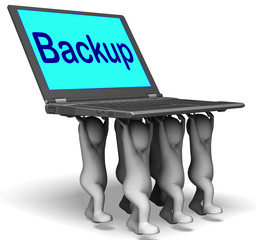 Backup Character Laptop Shows Archive Back Up And Storing