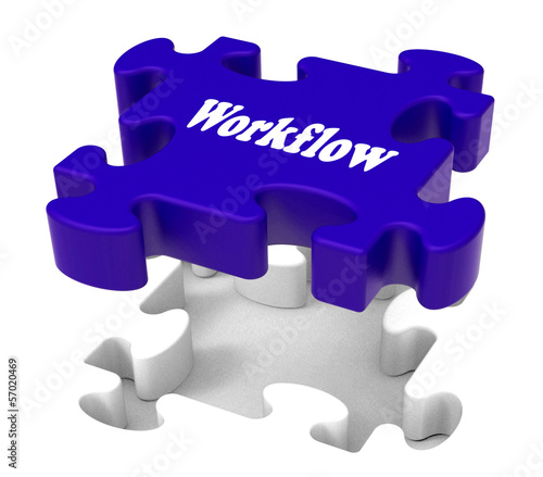 Workflow Puzzle Shows Structure Flow Or Work Procedure