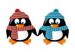 Two penguins wearing winter clothes