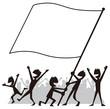 旗を振る人々