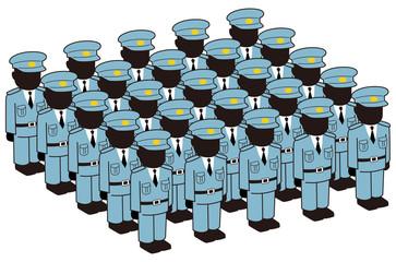 整列する警察