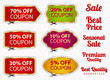 Set: Sale Coupons, labels (banner, tag). Cut off, scissors