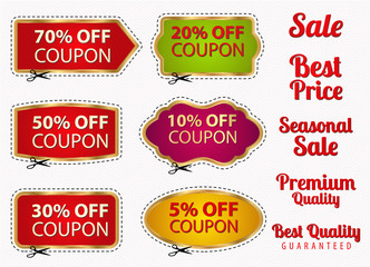 Set: Sale Coupons, labels (banner, tag). Cut off, scissors
