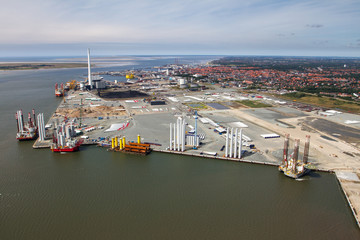 Aerial view of the harbor with wind turbines